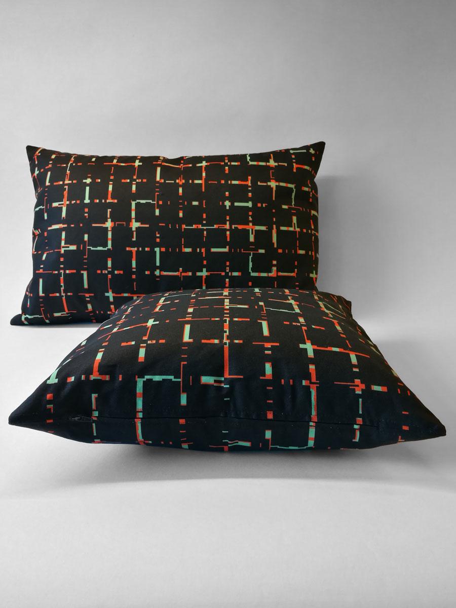 Pillow 'Grids 6040 Black Orange 1521'