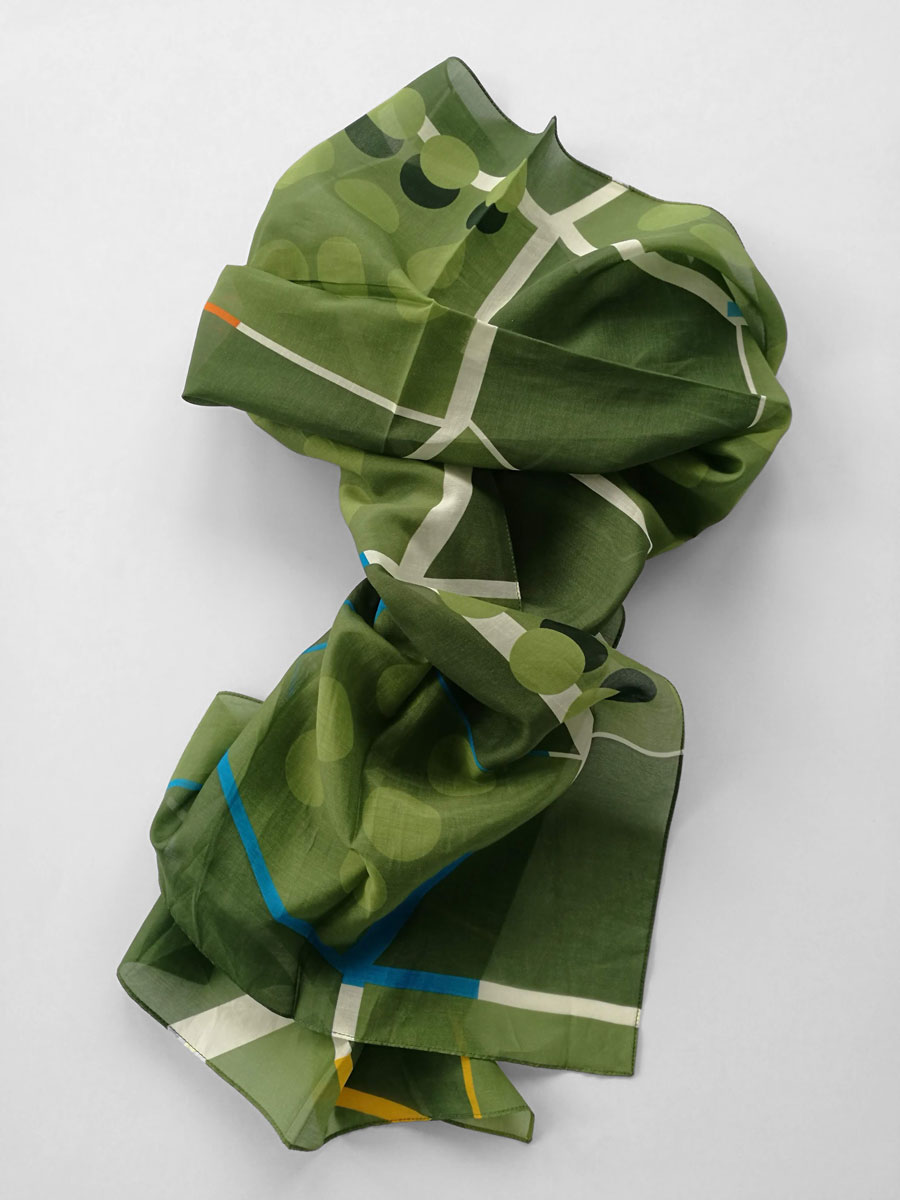 Shawl 'Point of View Green Blue'