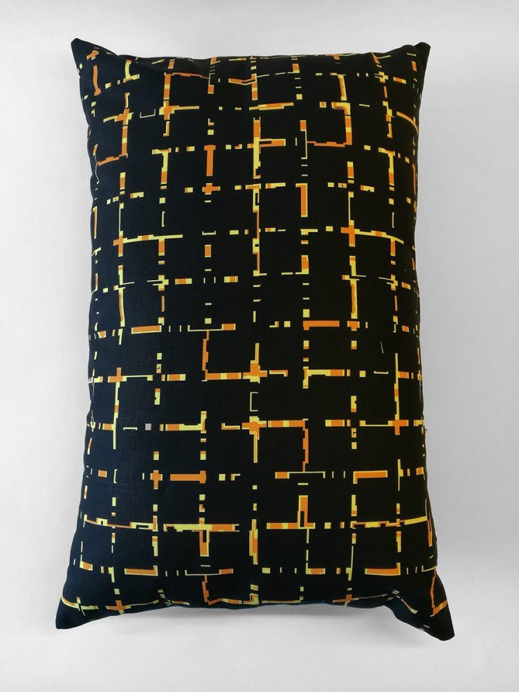 Pillow 'Grids 6040 Black Ochre 0004'
