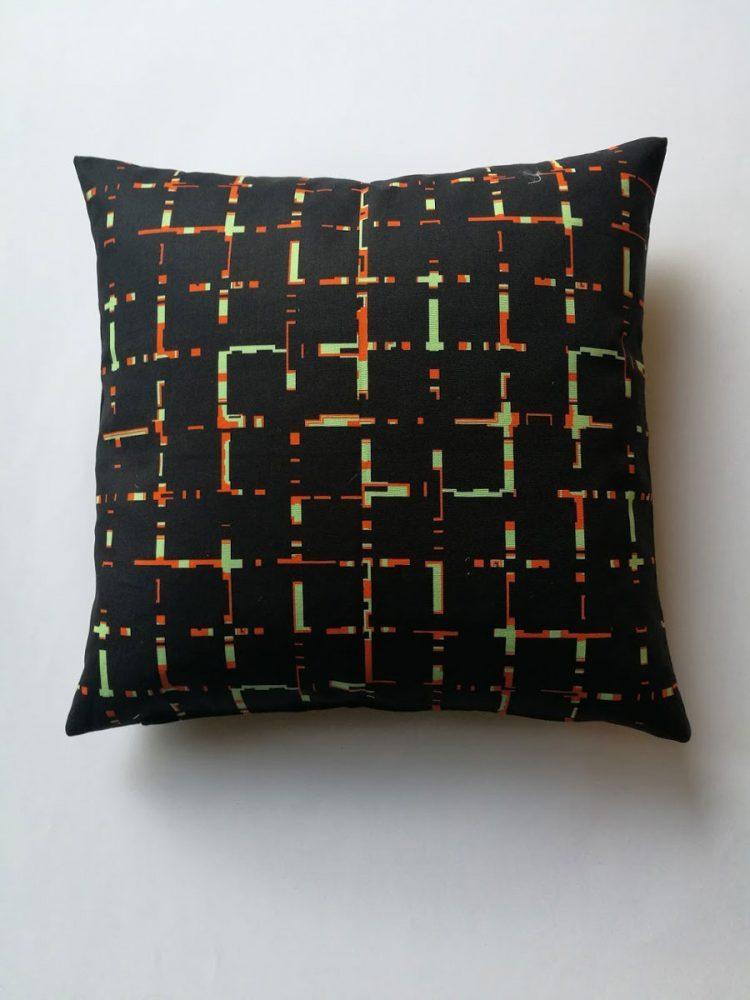 Pillow 'Grids Black Orange 1521'